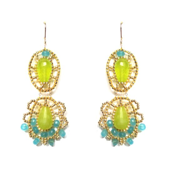Laloo – Net Chandeliers, lime and blue