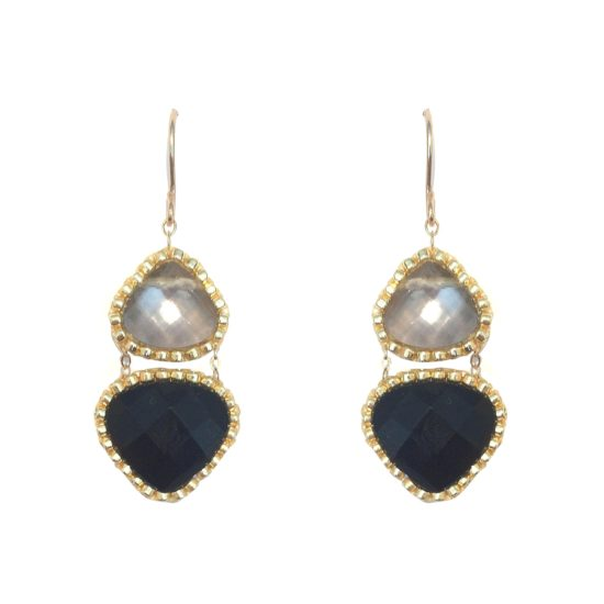 Laloo – Teardrop Duo Earrings, black and grey glass